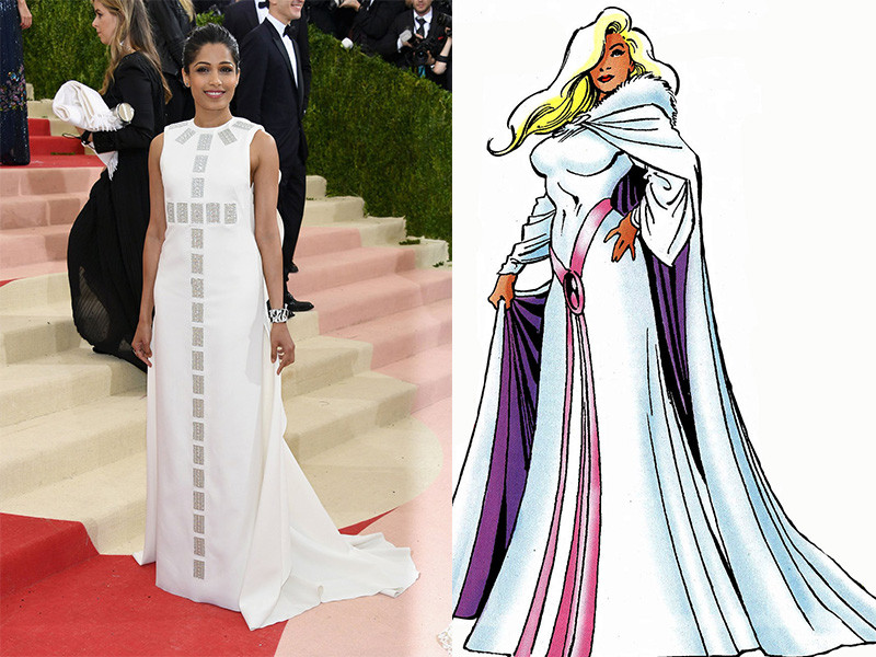 Freida Pinto in a Tory Burch dress, photo courtesy of the New York Times