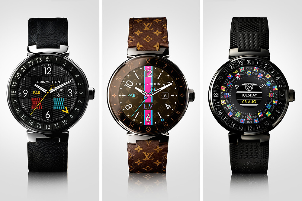 From left, the Tambour Horizon Graphite, Tambour Horizon Monogram, and Tambour Horizon Black. Photo by Louis Vuitton