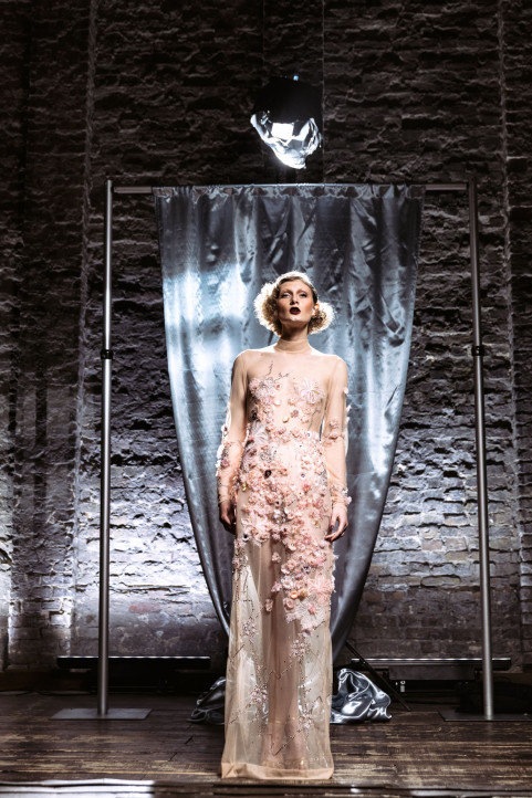 Marlene Dietrich's vision of the glowing naked dress produced by ElektroCouture. Photo source from WWD