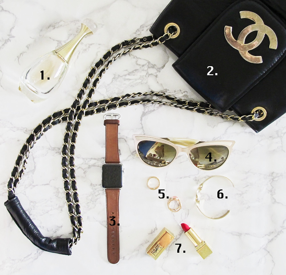 A golden out day look. Flatlay by Yarina