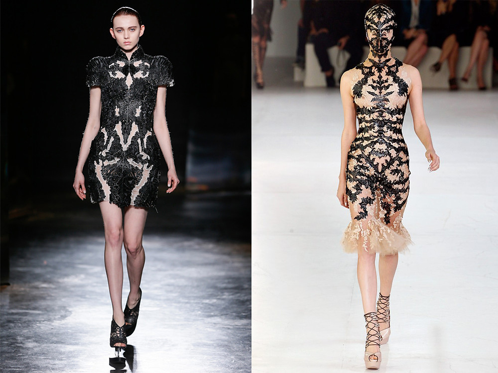Iris Van Herpen Fall 2016 and Alexander McQueen Spring 2012. Photo: Team Peter Stigter / Courtesy of Apiece Apart (Iris Van Herpen), Photo: Marcio Madeira (Alexander McQueen)