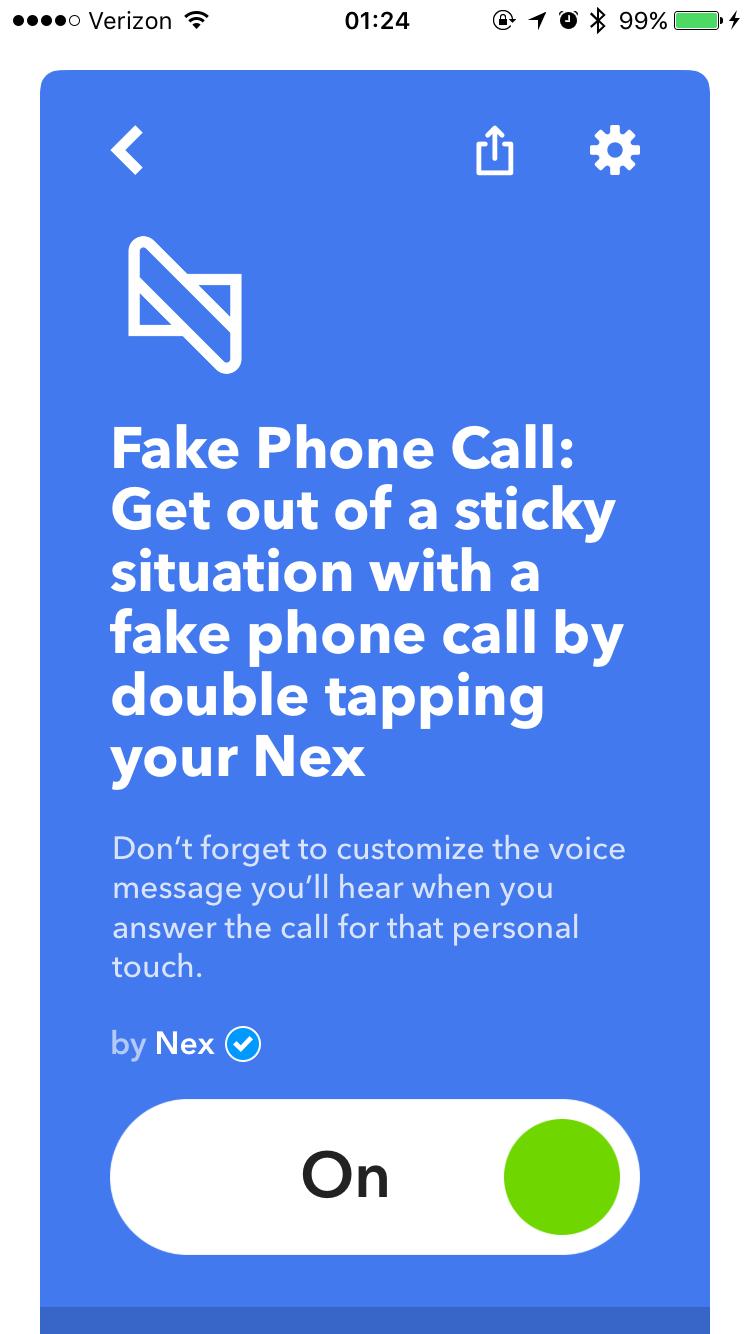 Adding IFTTT hack in the Nex app