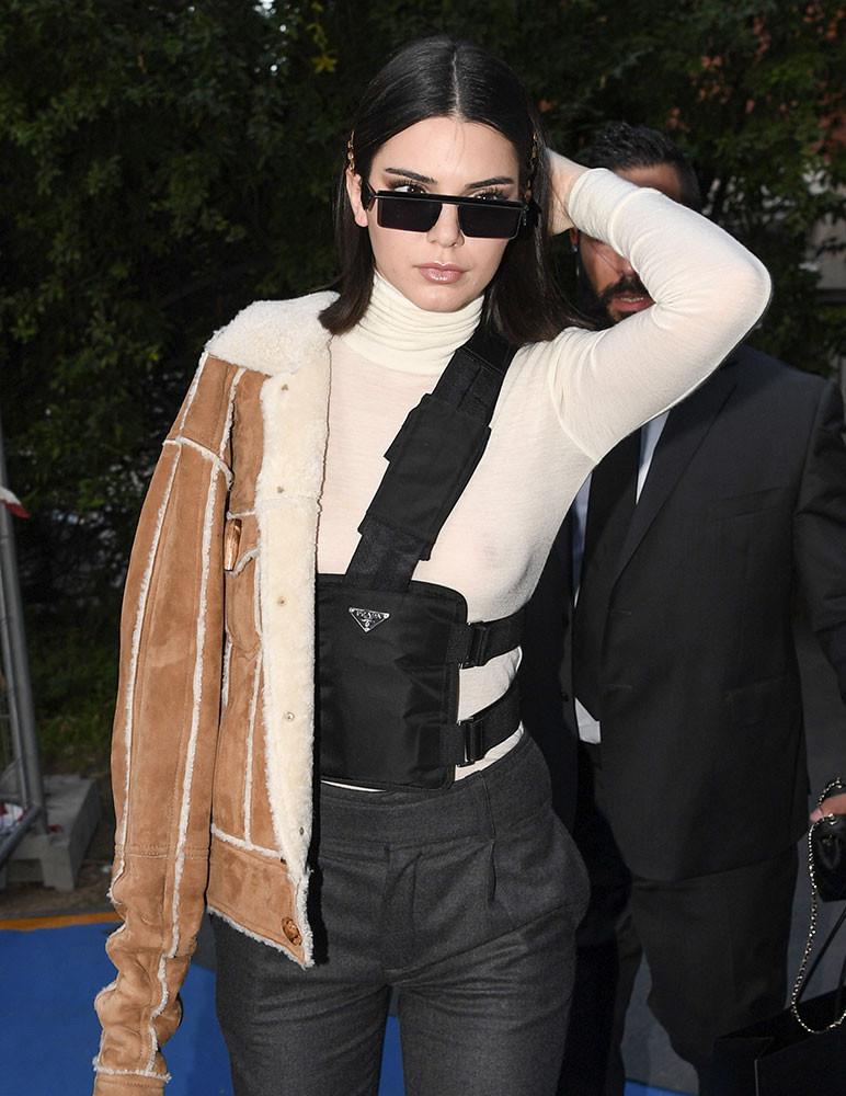 Kendall Jenner in Prada nylon bag
