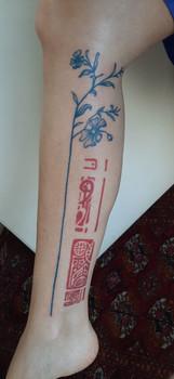 continuação da minha primeira self tattoo , azul fresco, vermelho cicatrizado.