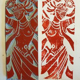 Impressão de linóleo. Mamãe Oxum. Selo para uma tatuagem feminina no braço.