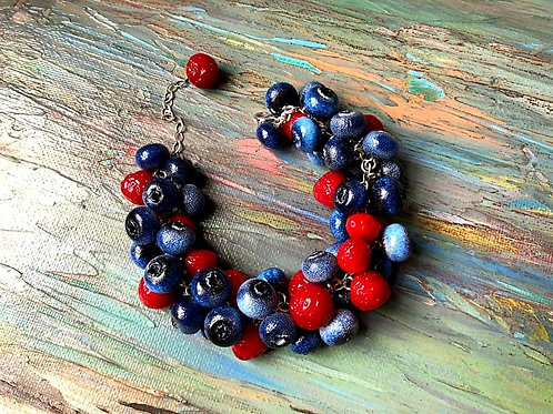 Blueberry and strawberry bracelet