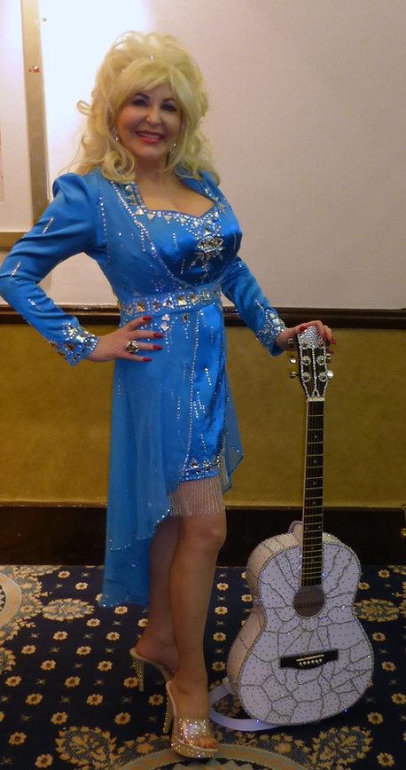 Dolly Parton Tribute Impersonator UK's Best loolalike Replica Glastonbury Guitar