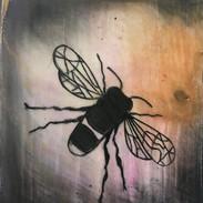 Purple Honeybee Mini Encaustic