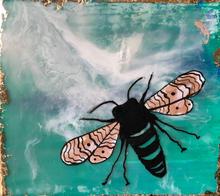 Mini Earth Day Honeybee of Encaustic