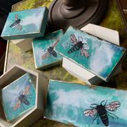 Various Mini Earth Day Honeybees of Encaustic