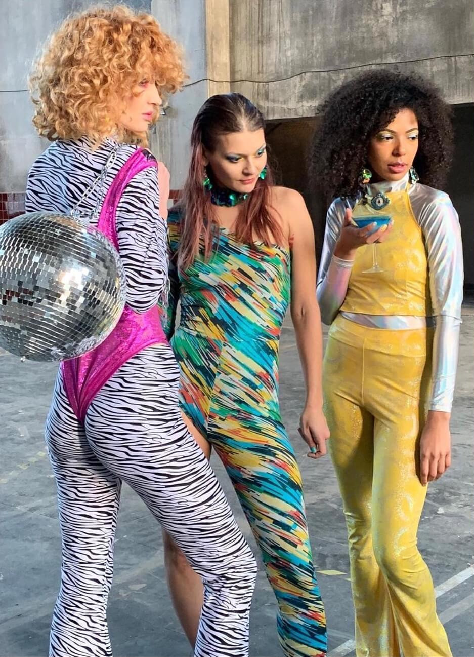 Diana May (middle) with models Jelena and Rita slaying for the new Lettau image video coming March 2021