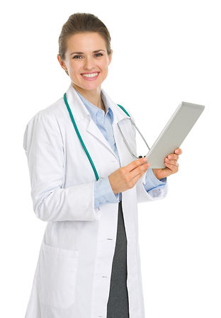 Smiling medical doctor woman with tablet
