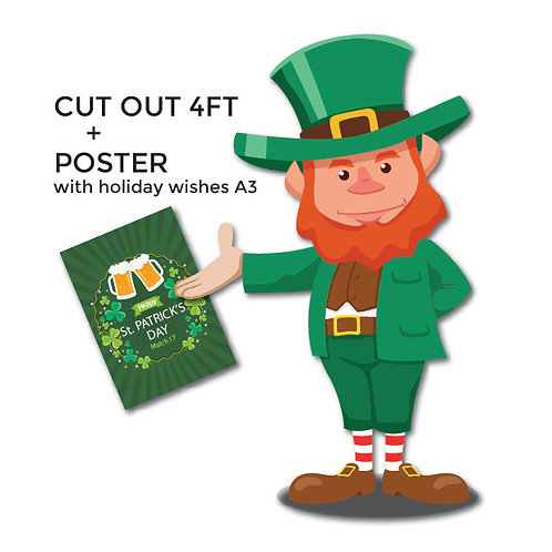 PUB SET St Patrick's decorations-Leprechaun Cut out and poster A3