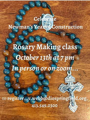 Rosary Making class October 13th at 7 pm In person or on zoom... to register...v.webb_dios