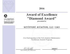 Keystone Aviation Diamond Award