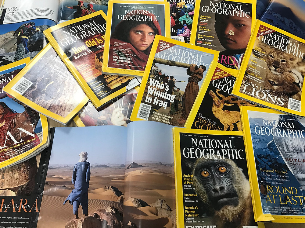A selection of National Geographic for students to browse