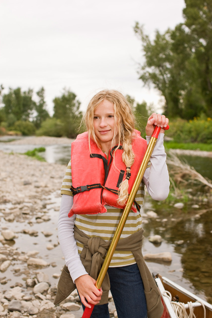 girl wearing life jacket