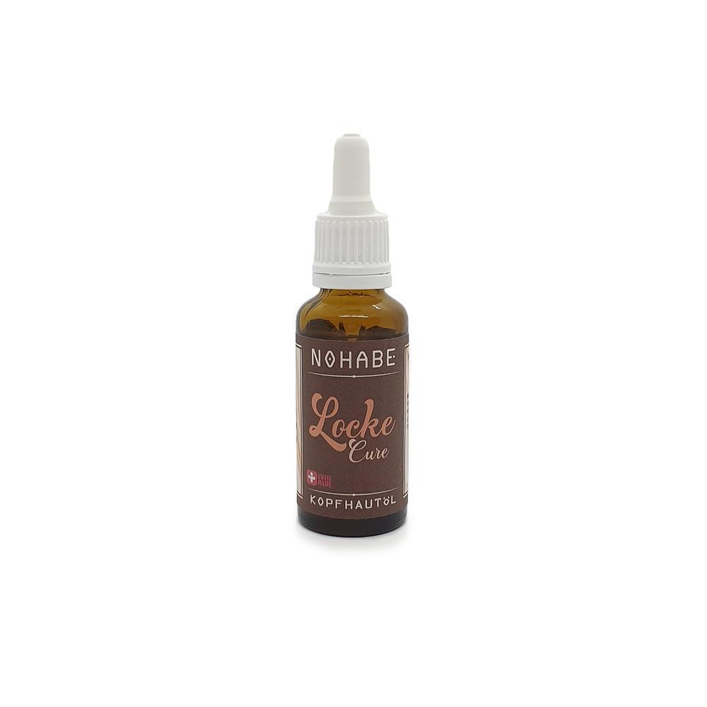 Nohabe Locke Cure nourishing scalp oil in a dropper bottle.