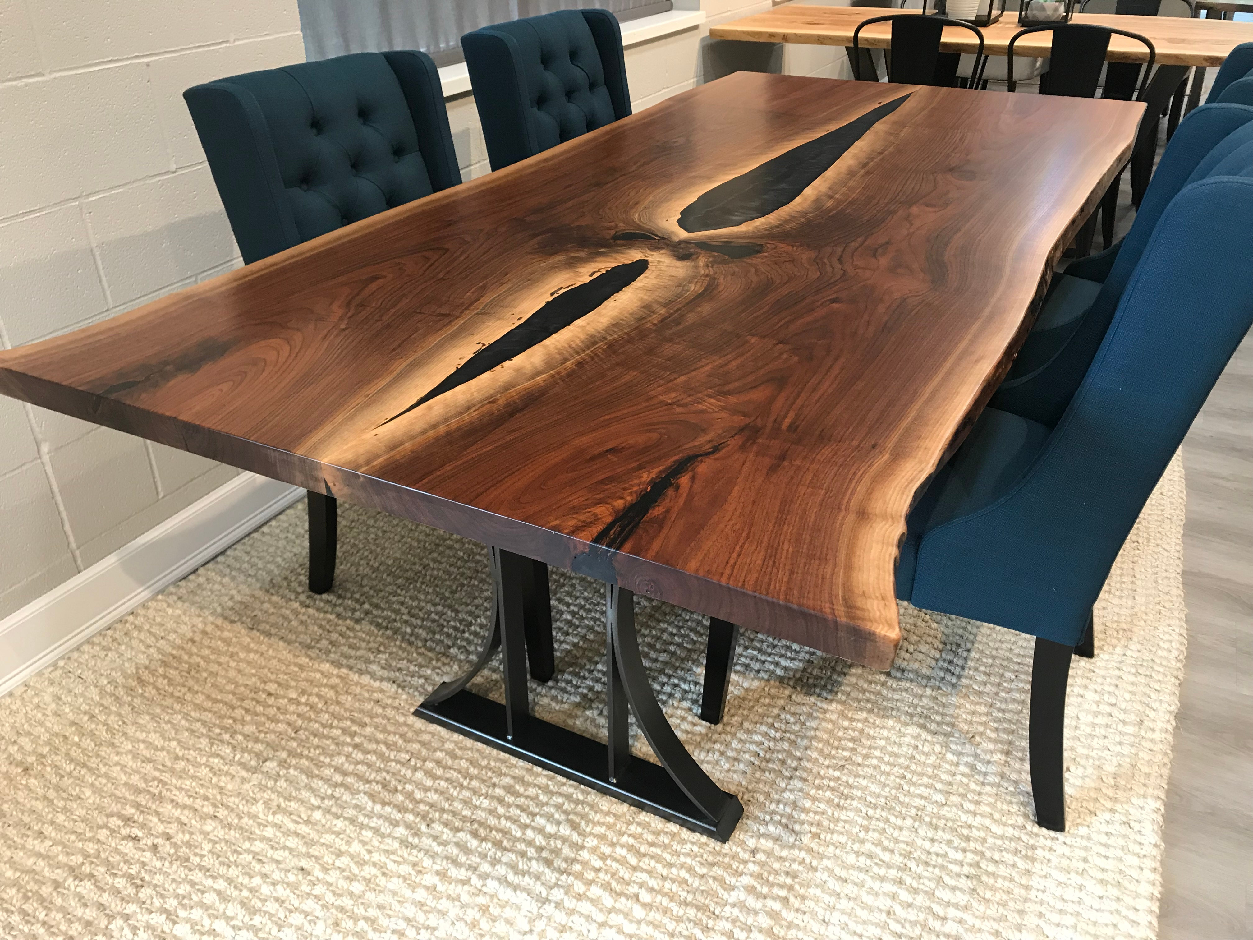 Walnut Dining Table With Epoxy 92 Pathwaytables