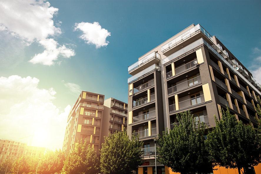 Modern apartment buildings exteriors in