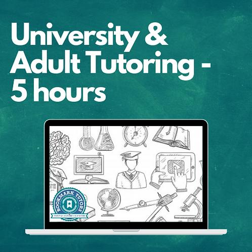 5 Hours - University & Adult Tutoring