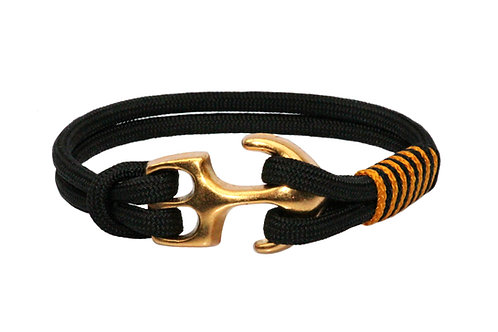 Bracelet ELEGANT BLACK ancre or mat