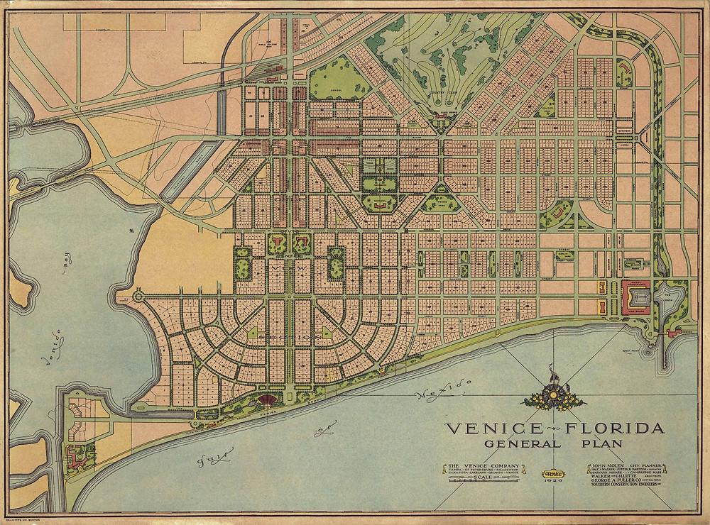 John Nolen plan for Venice Florida www.modernsarasota.com
