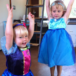 OES | Moving in yesterday; Ansley as Anna and Eloise as Elsa. (Costumes are thanks to Granny.)