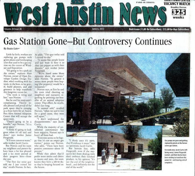 OES | In the West Austin News, talking about APA!'s new headquarters