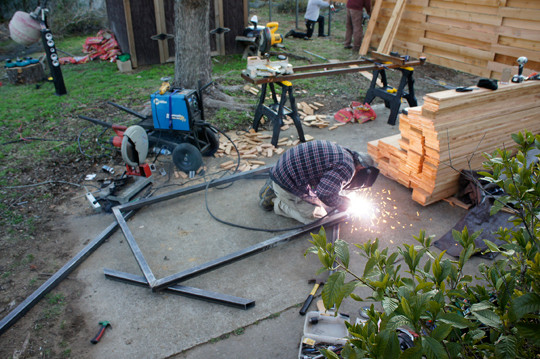 OES | Shawn welding the gate frame