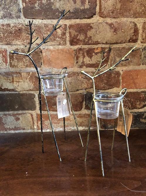Set of 2 Metal Deer Tealight decor