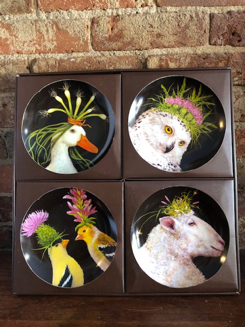 Vicki Sawyer Whimsy Animal App Plates-Set of 4