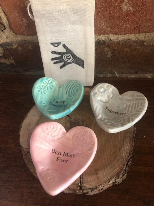 Handmade Ceramic Heart/Mom themed