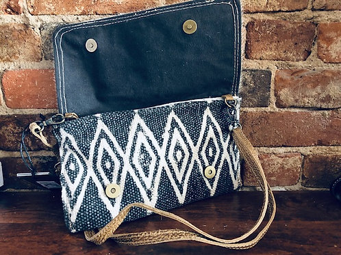 Upcycled Pearl Grey Crossbody/larger front