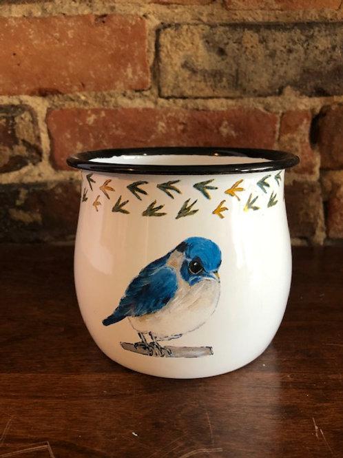 Blue Bird Enamelware Planter/Container