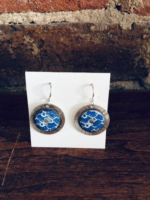 Handcrafted Enamel/Sterling Disc Earrings