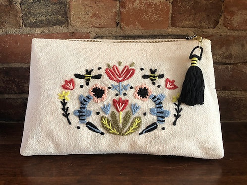 Flowers and Bees Large Cosmetic Bag