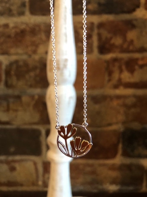 Floral sterling/vermiel necklace