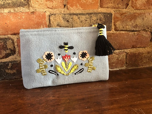 Flowers and Bees Small Cosmetic Bag