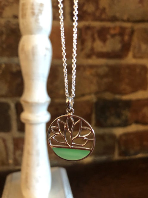 Lotus Necklace/sterling and green mother of Pearl