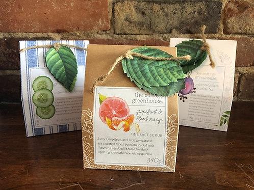 Cottage Greenhouse Fine Salt Scrubs/3 scents