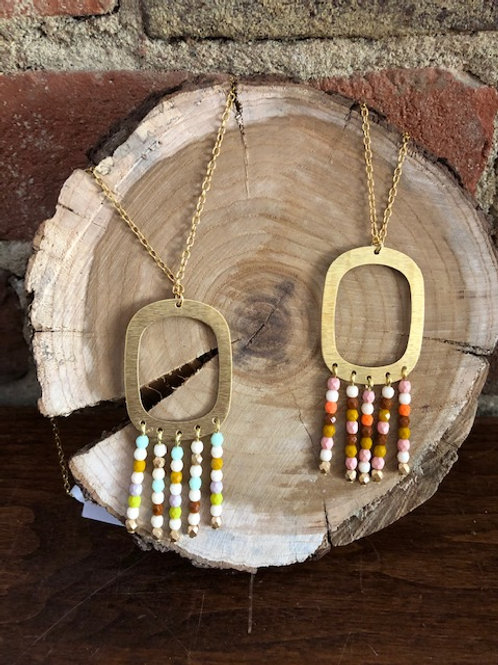 Handcrafted Matching Necklaces (earrings avail)Bead/Brass- 2 colors