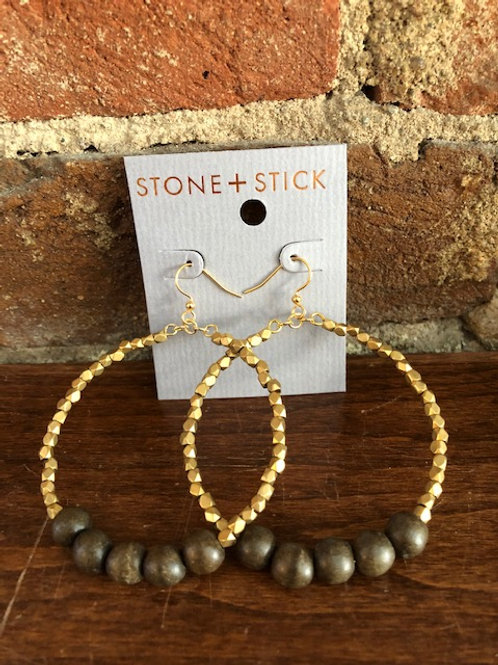 Golden Row Hoop Earrings-Grey
