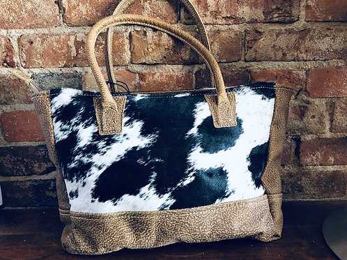 Upcycled Blk/White Heiron & Leather Bag