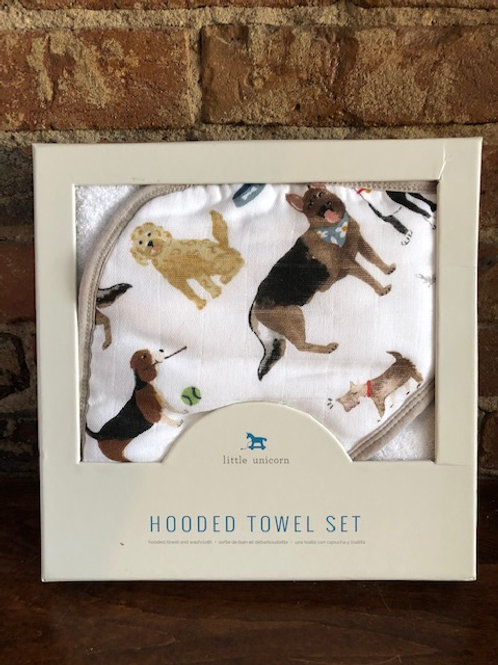 Woof Hooded Towel/Washcloth Set