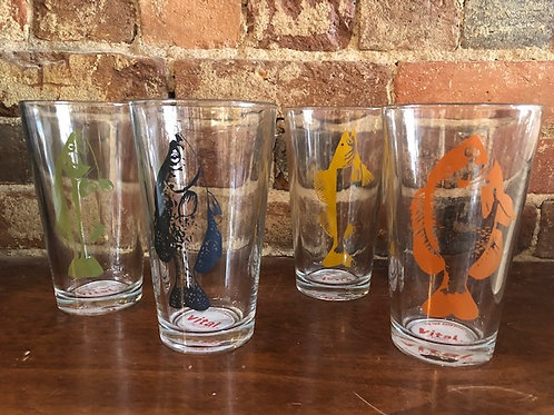 Fish Pint Glasses/4 colors
