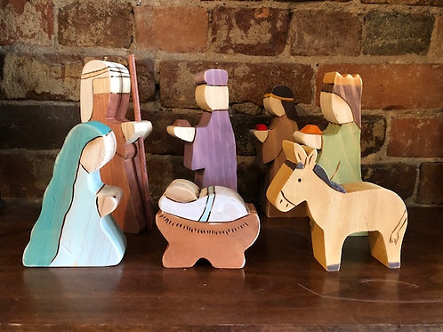 Wood 7 piece nativity set