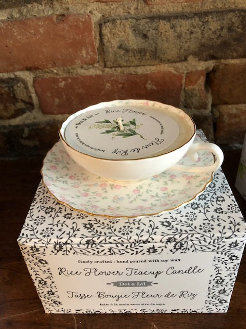 Rice Flower Vintage Teacup Candle