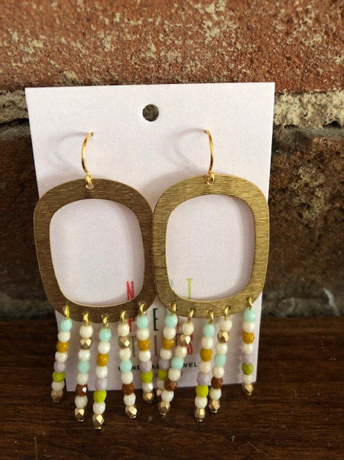 Handcrafted Bead/Brass Dangles-2 colors