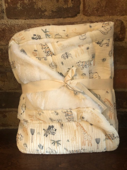 Safari Print Organic Muslin Blanket